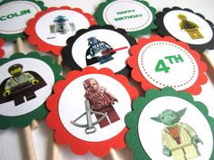 Star Wars Lego Cupcake Paper Toppers   Set of 12 by adorebynat, $8.25