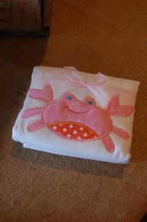 """PINK CRAB APPLIQUED BURP PAD Our burp pads aren't just beautiful - they are one of the most useful products we offer. Our super absorbent burp pads measure a generous 14.5"""" by 21"""" and are made of 100% cotton . We add one of our signature appliqués to the center front edge to make this uber-practical item unmistakably pretty. Everyone knows that moms just can't have enough of these beautiful necessities!"""