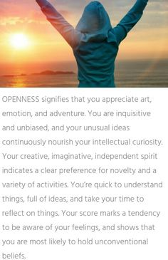 What psychological trait signifies you: Openness