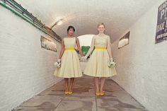 Cutest yellow bridesmaid dresses (DIY by bride's parents.)