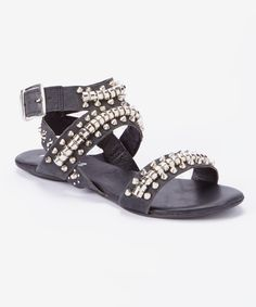 Look at this Black Elevate Leather Sandal on #zulily today!