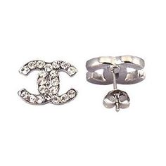 Silver plated CC stud earrings - fitted with swarovski crystals