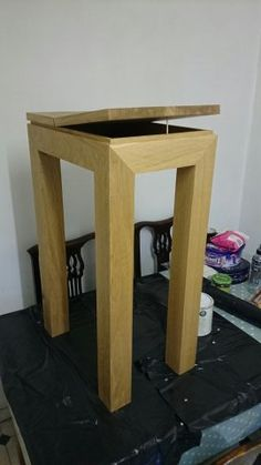 small oak hall table, lift up top to access storage