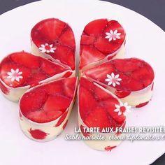 Tarte aux fraises avec crème diplomate à l'huile d'olive que on croirait faire un bisou quand on la déguste ...