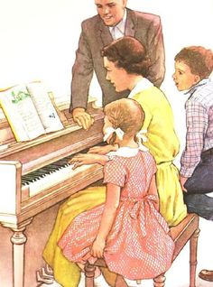 2 Vintage Lithograph Family Singing  at Piano Posters - 1950s and 1960s.