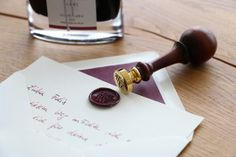 Pilot Pen iroshizuku fountain pen ink with colour tuned silk paper lined envelope and a monogramed wax seal – www.monogramsandsignets.com Pilot Pens, Fountain Pen Ink, Wax Seals, Monograms, Envelope, Place Card Holders, Colour, Silk, Paper