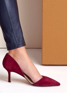 wine red suede pump