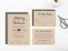 Printable Wedding Invitation Suite template by PaperDainty on Etsy