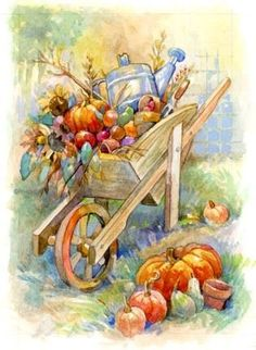 Fall Wheelbarrow By Leesa Whitten Autumn Painting, Autumn Art, Autumn Leaves, Vintage Thanksgiving, Autumn Scenes, Pumpkin Art, Fall Pictures, Country Art, Beautiful Paintings