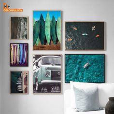 """Surf Board Sea Coast Vintage Van Nordic Posters And Prints Wall Art Print Canvas Painting Wall Pictures For Living Room"" Wall Pictures, Living Room Pictures, Wall Art Decor, Wall Art Prints, Canvas Prints, Nordic Art, Surf Board, Living Room Paint, Room Art"