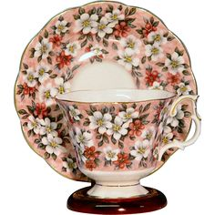 English Chintz Cup & Saucer by Royal Albert Royal Albert Garden Party Series Pink Surprise. Beautiful floral design on a pink background. Both pieces
