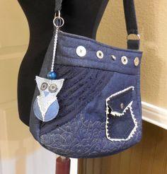 Suzie Q  Denim / owl  shoulder  bag  large  recycled by jewellgem, $5.95