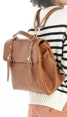 Cognac convertible backpack ==