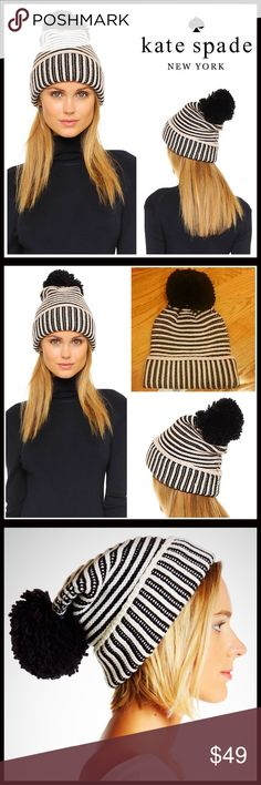 KATE SPADE Pom Pom Beanie Striped Bow Hat 💟NEW WITH TAGS💟  RETAIL PRICE: $58  KATE SPADE Cap Hat Beanie  * Super soft striped knit construction   * Rib trim cuff   * Stretch-to-fit style, one size fits most   * Cozy & comfortable   * Bow detail     * Well made  Fabric- 100% wool (not scratchy)   Color- Black & pink  Item#:  SEARCH# Pom Pom  🚫No Trades🚫 ✅ Offers Considered*✅  *Please use the blue 'offer' button to submit an offer kate spade Accessories Hats