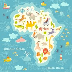 Animals world map, Africa. Beautiful cheerful colorful vector illustration for children and kids. With the inscription of the oceans and continents. World Map Africa, Kids World Map, West Africa, South Africa, Continents And Oceans, Maps For Kids, Safari Theme, Map Design, Nyc
