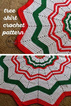 Christmas Tree Skirt - Free Crochet Pattern - #diy #holiday #crafts