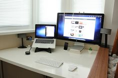 Same desk, new toys: - MacBook Pro 13 - Apple Thunderbolt Display 27 - Bose Companion 5 Speakers