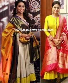 Must have these 5 Gorgeous duppata's in Women's wardrobe. Anarkali Gown, Saree Dress, Anarkali Suits, Punjabi Suits, Indian Designer Outfits, Indian Outfits, Duppata Style, Benarasi Dupatta, India Fashion