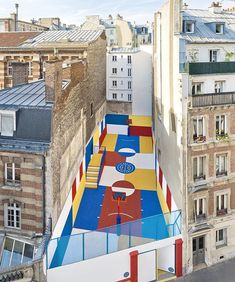 This colorful #basketball court has been designed by @illstudio and @pigalle_ashpool in the heart of Paris. The Pigalle Duperré court's abstract and geometrical style draws from Russian artist Kasimir Malevich's painting 'Les sportifs', depicting a row of figures defined by their rigorous shape and strong color.
