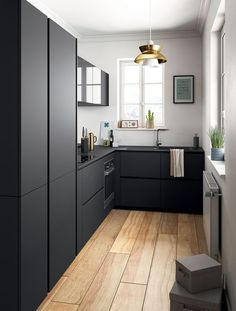 Modern black kitchen cabinets - Modern black kitchen cabinets - the equip . - Home accessories - Modern Black Kitchen Cabinets Modern Black Kitchen Cabinets Best Picture For kitchen ideas remodel - Small Modern Kitchens, Black Kitchens, Modern Kitchen Design, Interior Design Kitchen, Home Kitchens, Stylish Kitchen, Minimal Home Design, Very Small Kitchen Design, Kitchen Ikea