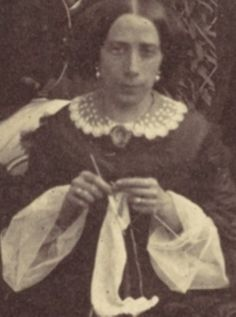 1850s (hair, wide collar) knitter. Note the sheer, open undersleeves.