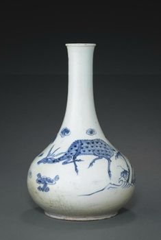 (Korea) A blue & white pear shaped Porcelain Bottle with longevity symbols. Joseon Kingdom, Korea. circa 19th century CE.