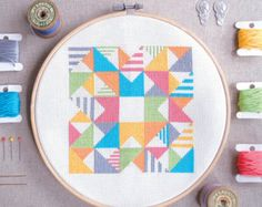 Modern Cross stitch  Play with Squares n Lines   Geometric