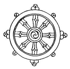 The 8 Auspicious Symbols from Buddhism | (5) DHARMA WHEEL - symbolises the auspiciousness of the turning of the precious wheel of Buddha's doctrine, both in its teachings and realizations, in all realms and at all times, enabling beings to experience the joy of wholesome deeds and liberation.