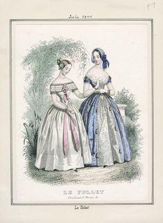 1844. Цветная отделка белого платья. Берта с несколькими рядами кружева. Черные сетчатые митенки со светлым открытым платьем.