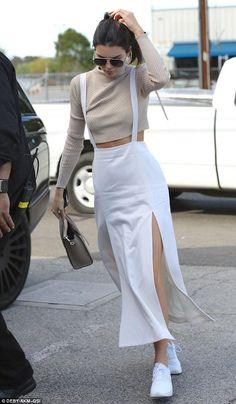 Kendall Jenner wearing Celine Nano Bag, Nike Air Max Thea Running Sneakers and Saint Laurent Classic 11 Aviator Sunglasses