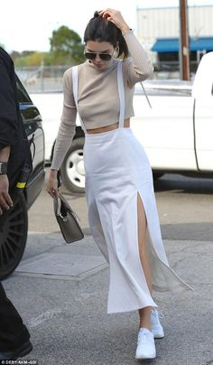 Kendall Jenner wearing Celine Nano Bag, Nike Air Max Thea Running Sneakers and Saint Laurent Classic 11 Aviator Sunglasses