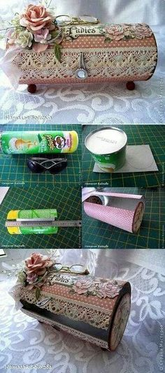 From Pringles Can to Pretty Vintage Box - DIY.great project for when granddaug. - From Pringles Can to Pretty Vintage Box – DIY…great project for when granddaughter stays over: - Vintage Diy, Vintage Crafts, Vintage Decor, Vintage Stuff, Vintage Ideas, Pringles Dose, Pringles Can, Fun Crafts, Diy And Crafts