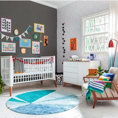 Bedroom rug: 85 beautiful models to bring you more comfort - ChecoPie Baby Room Rugs, Rugs In Living Room, Living Room Designs, Living Room Decor, Funky Decor, White Rug, Carpet Colors, Colorful Rugs, Diy Design