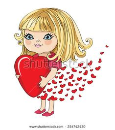 cute girl/Valentine's Day special greeting card/T-shirt Graphics/graphic illustration for Mother's Day/ love girl/ I love you mom/cute girl illustration for children/girl graphics greeting card