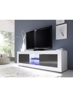 Basic Tv Stand White Anthracite