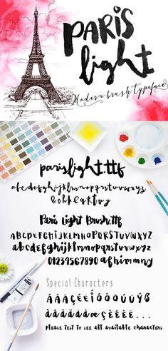 Another fabulous brush lettering font. Super messy + realistic. Paris Light.