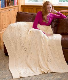 Mom, what about this in a light sage green?  ~Butterfly Cabled Blanket Knitting Pattern~