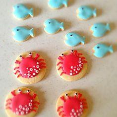 まだまだ夏のイメージのアイシングクッキーです(^-^)/ - 67件のもぐもぐ - カニ&さかな♡アイシングクッキー by soramina