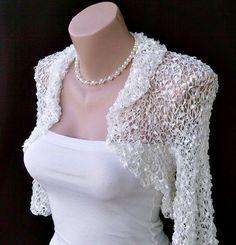 Bridal White Silk Wedding Evening Chic Hand Knitted by nastiadi Knit Shrug, Crochet Cardigan, Kurti Back Neck Designs, Knitting Yarn, Hand Knitting, Crochet Capas, Bolero Pattern, Lace Dress Styles, Bridal Shawl