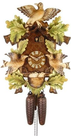 Cuckoo Clock 8day,3 Birds Nest Hand Painted By August And Schwer