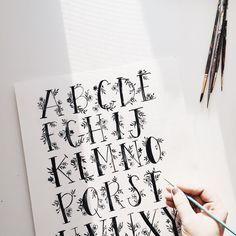 """""""Love my studios evening light + this floral alphabet print is almost ready for the shop! 