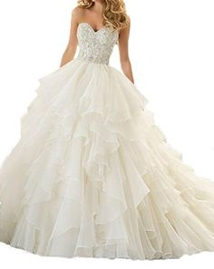 43361332953 AngelCity Brides Womens Organza Sweetheart Cascading Ruched Wedding Dresses  ACB017IVUS18P    Find out more about