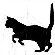 "Silhouette Cat #12 10""(26 cm) Paper Pieced patterns quiltartdesigns.blogspot.com"