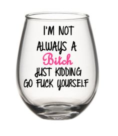 Im Not Always A Bitch Wine Glass, Funny Wine Glass, Cute Wine Glasses by SiplyDesigns on Etsy
