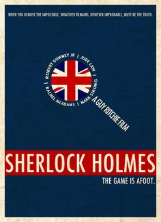 """Minimalist poster for Guy Ritchie's film """"Sherlock Holmes.""""  Art by evilcomma (minimalmovieposters.tumblr.com)"""