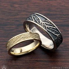Tree of Life Wedding Band Set in 14k yellow gold and 14k white gold with a darkened recess. Design your dream rings at Krikawa!