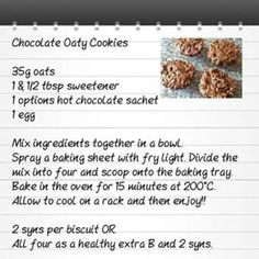 astuce recette minceur girl world world recipes world snacks Slimming World Cookies, Slimming World Deserts, Baked Oats Slimming World, Slimming World Puddings, Slimming World Tips, Slimming World Recipes, Slimming World Oat Biscuits, Slimming Eats, Options Hot Chocolate