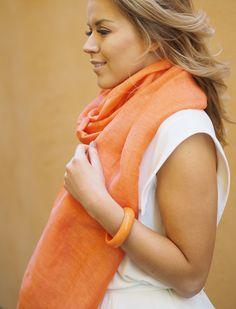 Dawn scarf is a beautiful combination of finest linen and silk. Linen gives the softness and warmth, silk provides the shine and elegance. Pellava antaa huiville pehmeyden ja lämmön, silkki k Orange Fashion, Scarf Styles, Dawn, Scarves, Silk, Elegant, Luxury, Beautiful, Scarfs