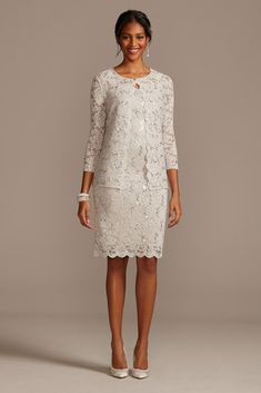 You'll look perfectly put together in this knee-length lace tank dress and matching long-sleeve jacket. By Marina Polyester, spandex Back zipper; Mother Of The Bride Dresses Long, Mother Of Bride Outfits, Mothers Dresses, Moms Wedding Dresses, Grooms Mother Dresses, Grooms Mom Dress, Brides Mom Dress, Mob Dresses, Necklines For Dresses
