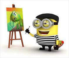 The maestro is at work - Pablo Picasso Minion. #Minions #Picasso